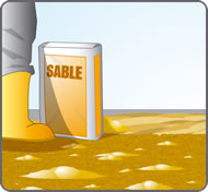 mélange de sable et de gravillons